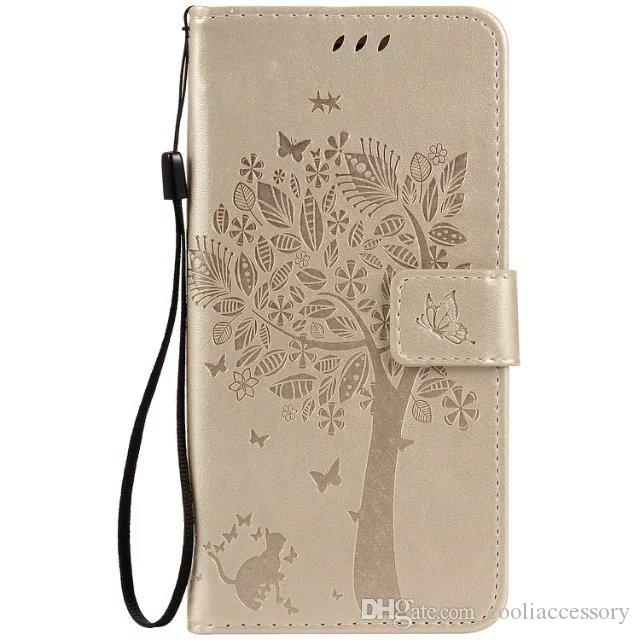 For Iphone X XS MAX XR 8 7 Plus 6 6S SE 5S 4G 4 4S Ipod Touch 5 Strap Wallet Leather Case Stand ID Card Money Cat Tree Butterfly Skin Cover