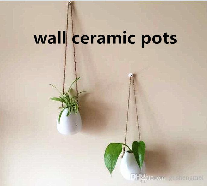 mini ceramic hanging pots/egg shape white porcelain water plants wall mount vases/wall air plant planters