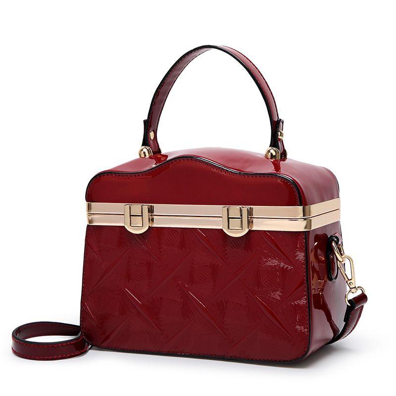 486c05906af Ladies New Embossed Box Type Retro Pu Leather Shiny Shoulder Bag ...