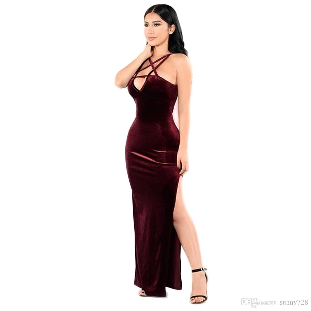 Latest Fashion Velvet Women Formal Party Dress In Stock Real Picture Halter Neck Sleeveless Side Split Lady Dress