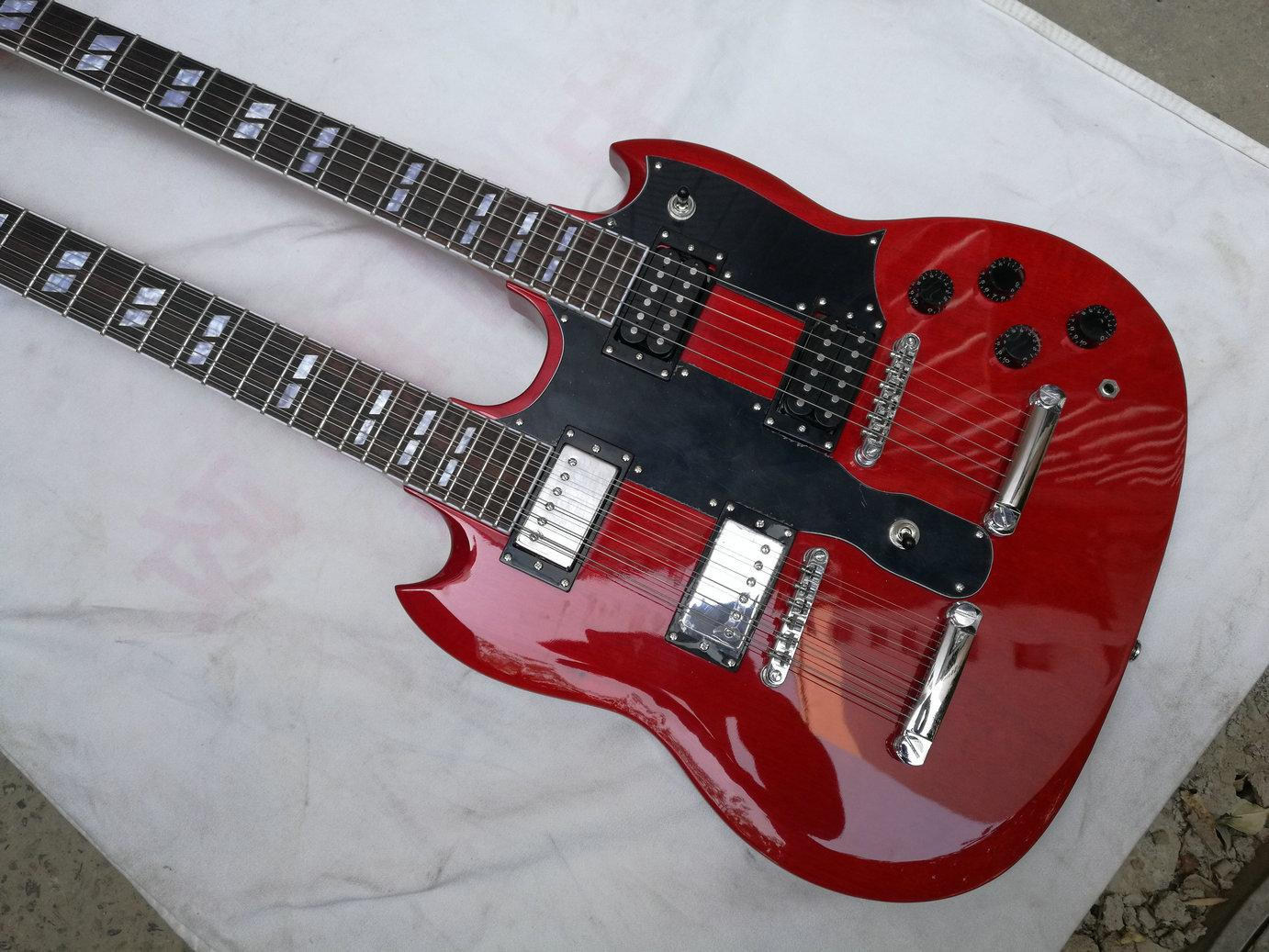 2017 new double neck guitar led zeppeli page 1275 double neck red body 12 strings guitar. Black Bedroom Furniture Sets. Home Design Ideas