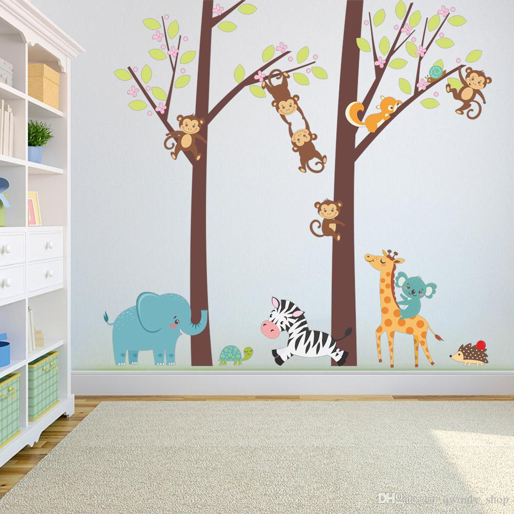 Forest Animals Tree Elephant Monkey Giraffe Wall Sticker For Kids Rooms TV Background Sofa Decor Wall Decal Poster Mural