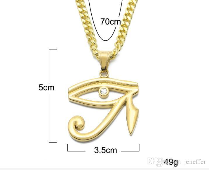 Top sale new hiphop Pharaoh patron saint of the eyes of Horus Egyptian Amulet Eagle Head Eye Pendant necklace punk jewelry with chain
