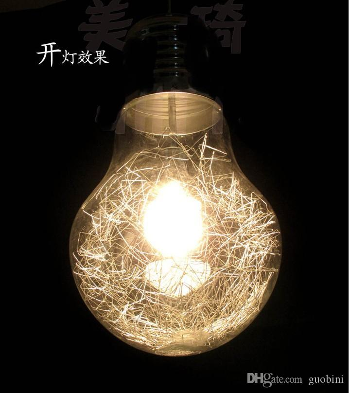 Stylish big bulb dining room pendant lamp new modern aluminum wire stylish big bulb dining room pendant lamp new modern aluminum wire inside glass ball bar counter pendant light fixture restaurant lamps hanging lights aloadofball Image collections