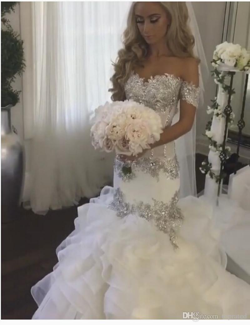 Hand Made Beading Wedding Dresses 2017 Off Shoulder Romantic Bridal Dress Crystals Ruffles Organza Boho Sexy Lace Mermaid Wedding Gowns