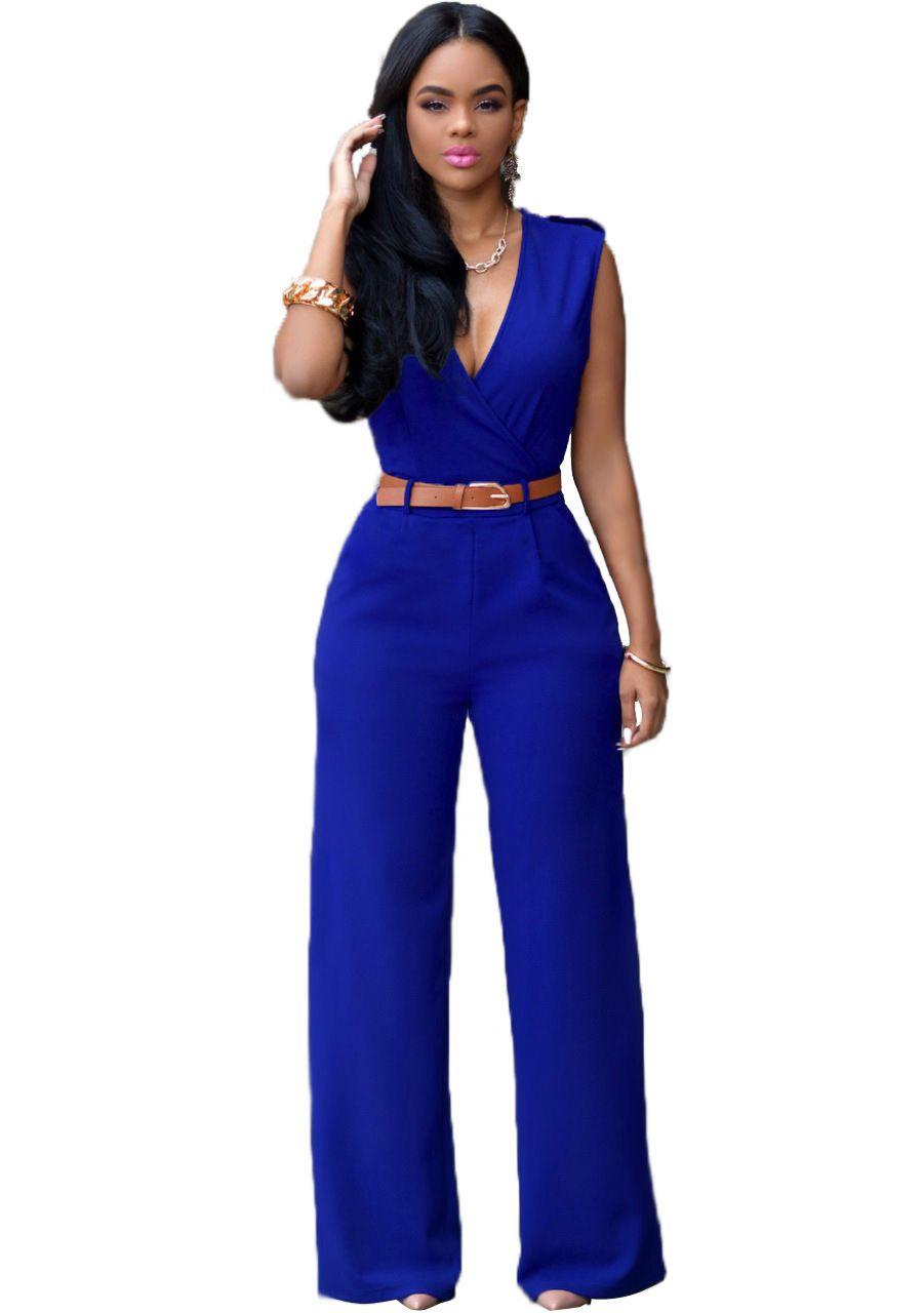 Wholesale Women Sleeveless V-Neck High Waist Wide Leg Romper Pants Jumpsuit with Belt size S-XL many colors