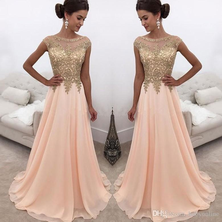75534c6f4d 2018 Peach Sheer Crew Neck Long Prom Dresses Gold Lace Appliqued Cap  Sleeves A Line Chiffon Formal Party Wear Formal Evening Dresses Black Plus  Size Evening ...