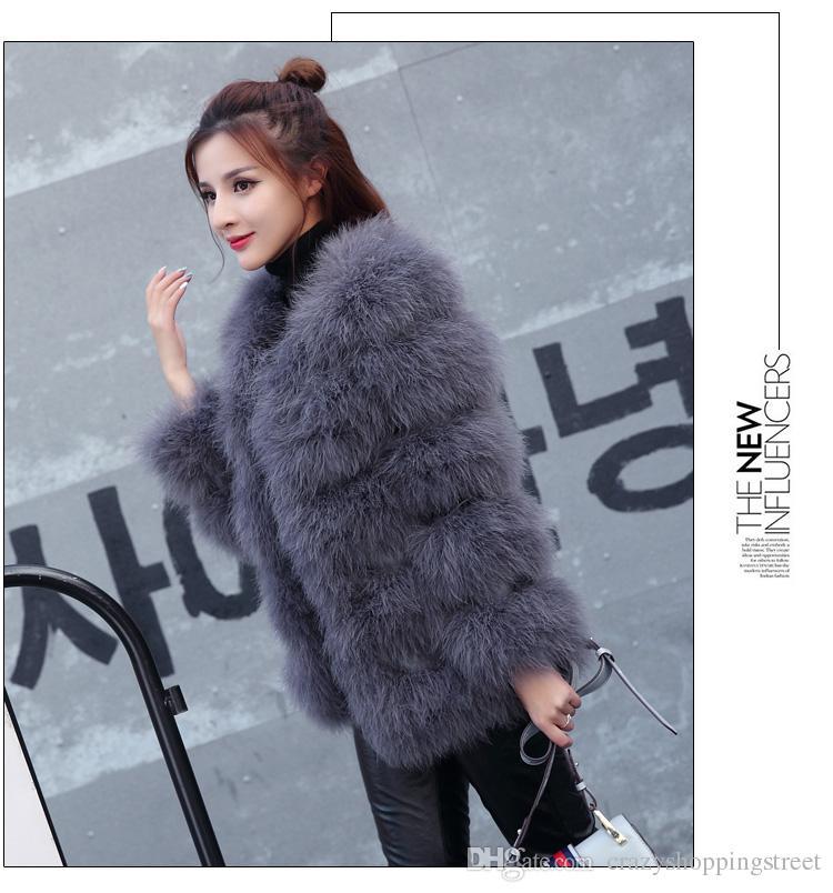 Outono inverno top vestir casaco de pele real avestruz lã casaco de penas de peru shearling mulheres jaqueta elegante moda de luxo