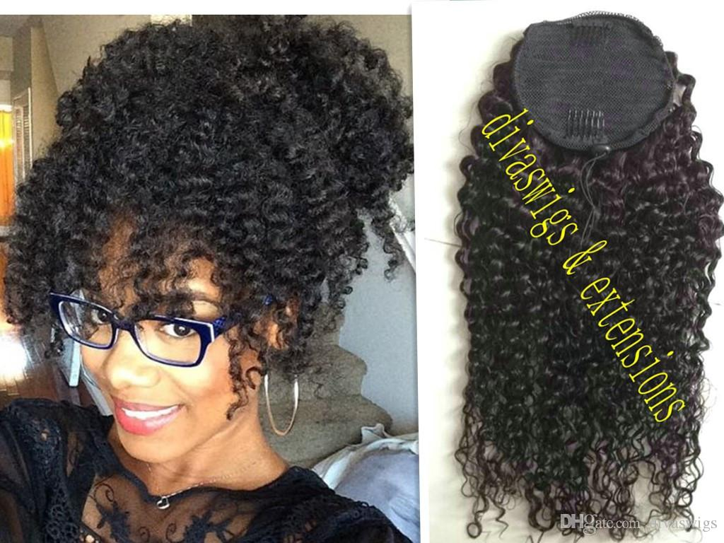Brazilian Ponytail Kinky Curly Clip In Ponytails Human Hair