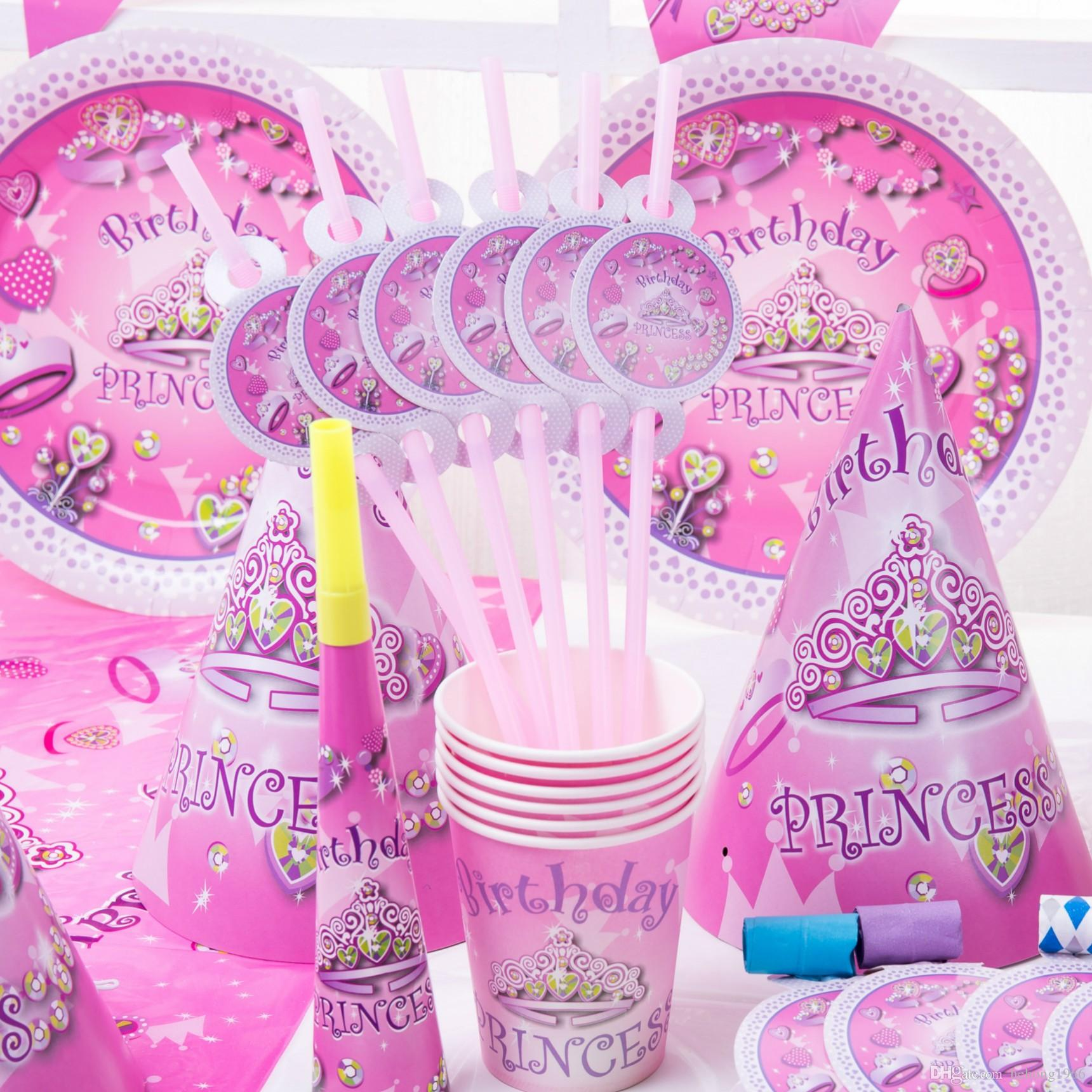 Pink Disposable Tablewares Sets Crown Paper Cake Plate For Festival ...