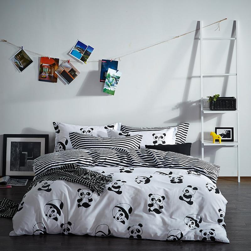 100 Cotton Black White Color PlaidStripePanda Bedding