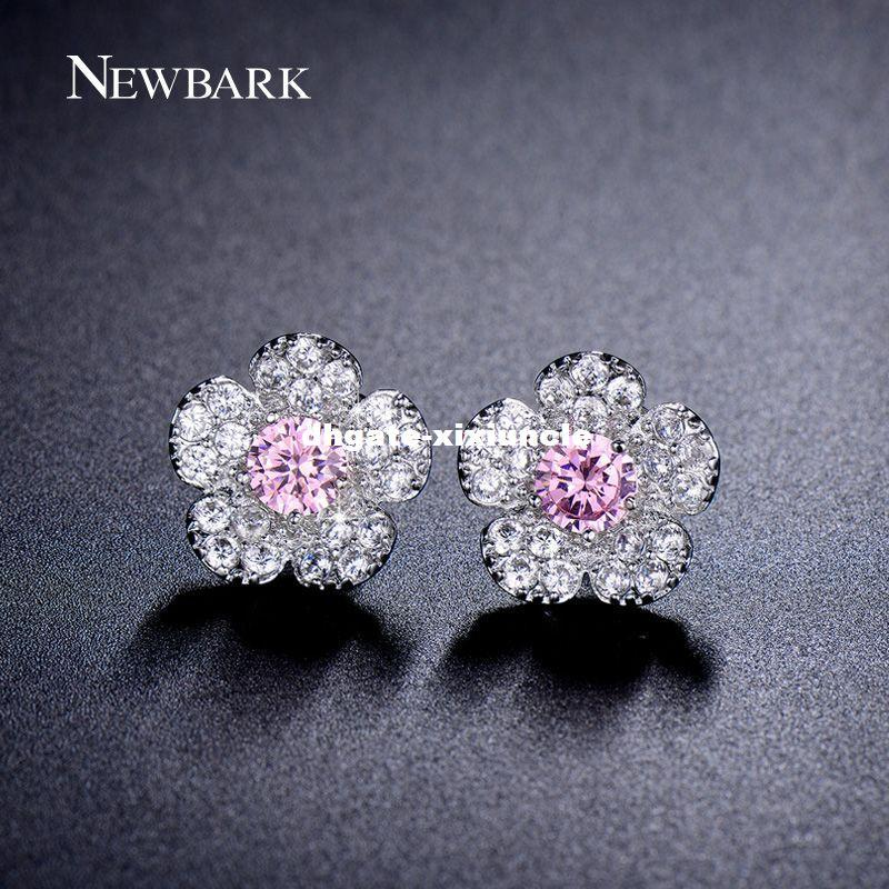 128414202 DHgate Lovely Snow Flower Stud Earrings Purple Pink And Clear Top CZ ...