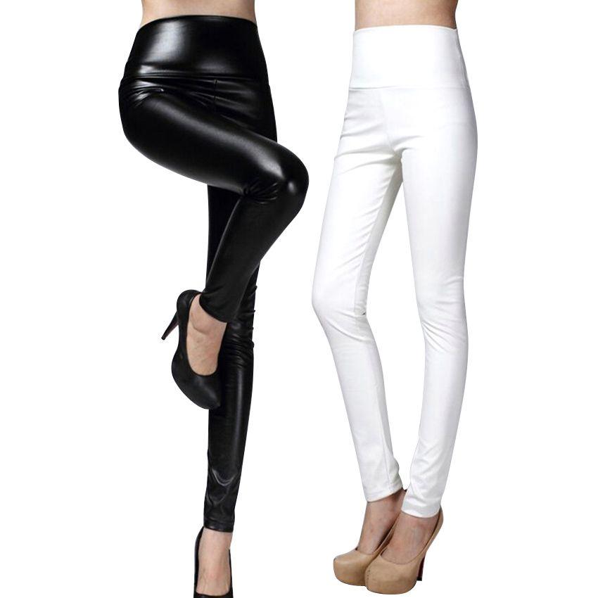 74aa1d1f4 2017 Plus Size Thicken Winter PU Leather Women Pants High Waist ...