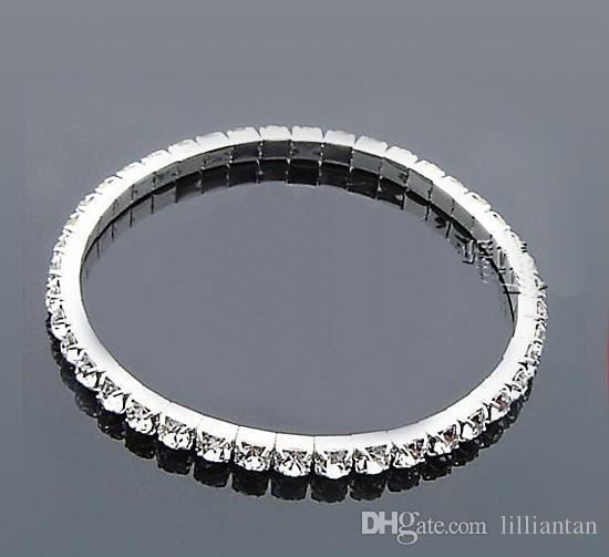 Ucuz Gümüş Kaplama Gelin Bilezik Bling Bling 1 Satır Rhinestone Gelin Aksesuarları Kadınlar Balo Akşam Düğün Takı Streç Bileklik
