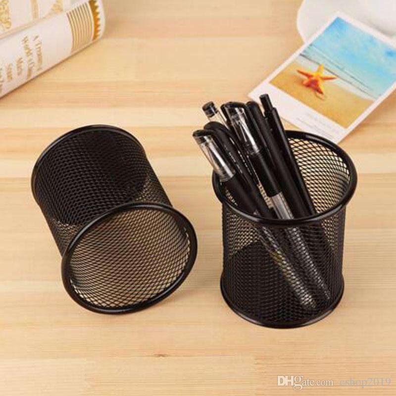 2017 new Creative circular metal mesh pen holder office desk multi - purpose storage barrels factory direct