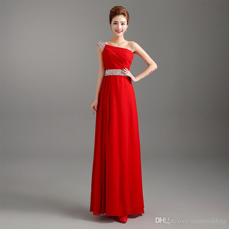 Beaded One Shoulder Long Chiffon Bridesmaid Dresses 2018 Elegant