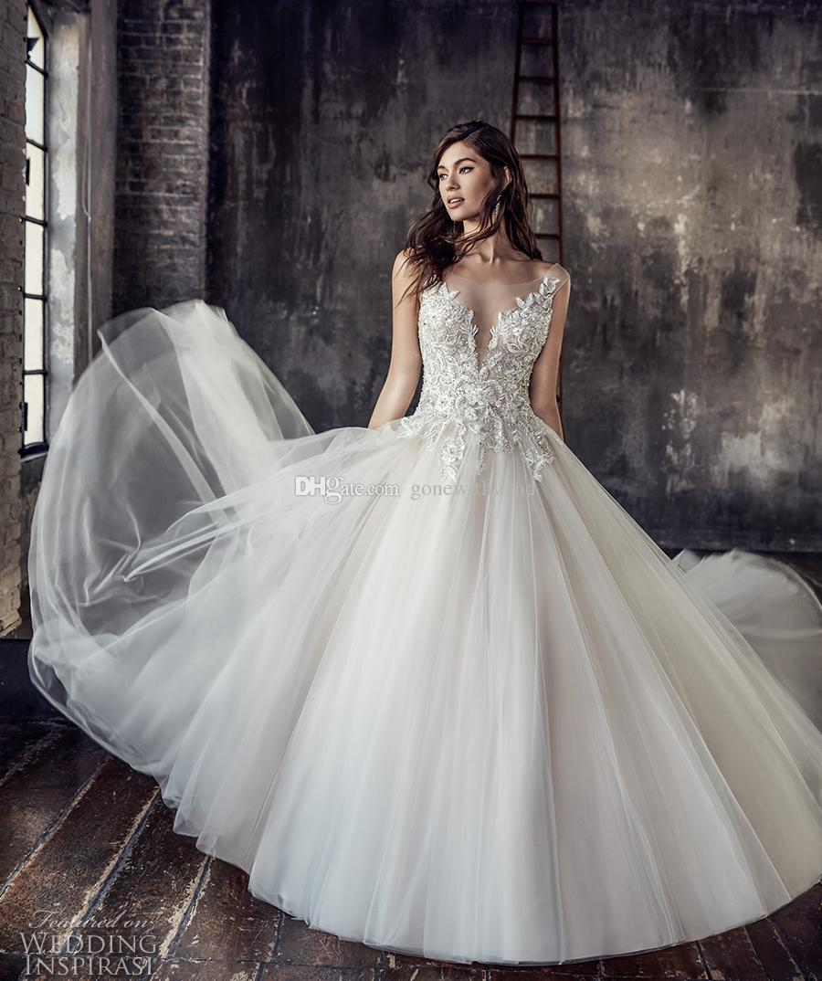 Discount tulle skirt wedding dress 2018 eddy k bridal cap for Wedding dresses with tulle skirts