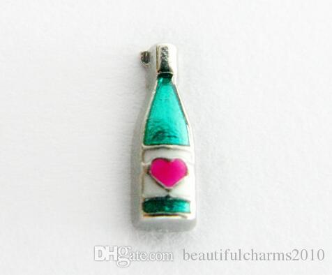 Wholesale Floating Locket Charm red wine bottle Fit For Magnetic Glass Living Memory Locket