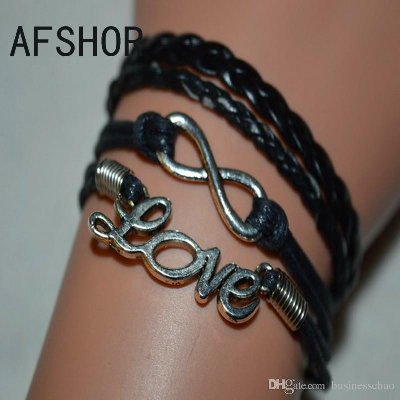 New Hot Multilayer Braided Black Leather Wax Cord Cuff Costume Charm Bracelet Bangles Fashion Women Men Wing Bead Key Infinity Alloy Jewelry