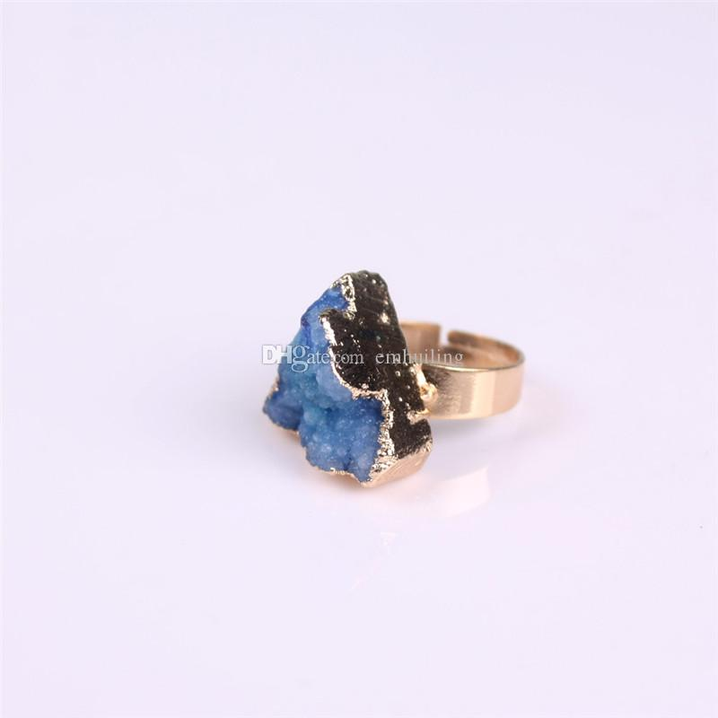 Agate Drusy Druzy Adjustable Ring Raw Gemstone Rough Gem Ring Gold Plated Triangle Natural Druzy Ring for Best Promise Anniversary Wedding