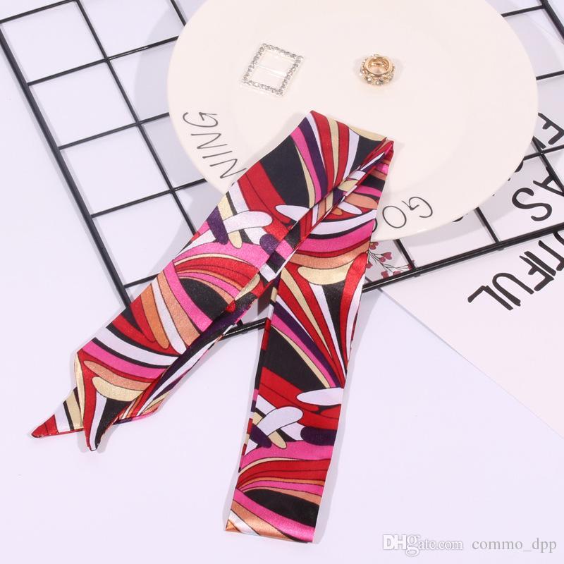 Мода многофункциональный печати шарф для сумки ручка 17 цветов головы обернуть шарфы ленты женщин тюрбан треугольник оголовье шелковые шарфы
