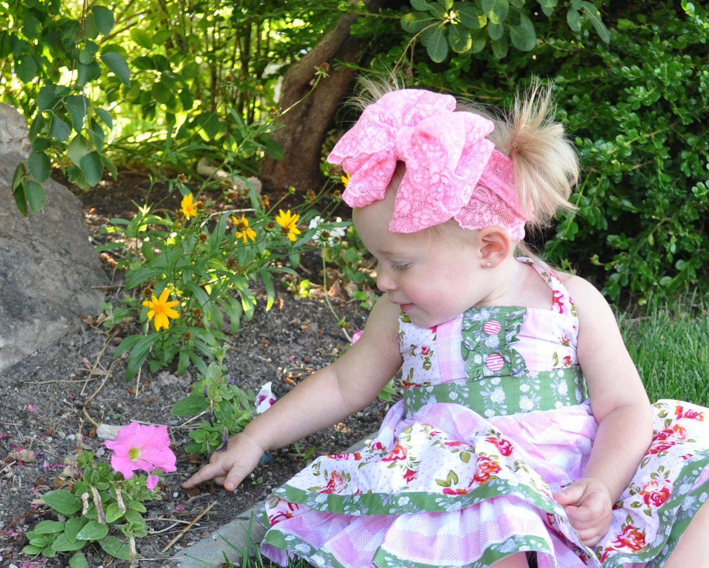 DHL / EMS / FEDEX / UPS Verschiffen-Art- und Mädchen-Spitze große Bogen-Haar-Band-Baby-Kopf-Verpackungs-Band Zubehör Baby Lacos elastische Stirnbänder