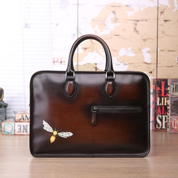 Customized Vegetable Tanning Leather Hand Colored Hand Painting Vintage  Handbag Totes Fashion Hand Bags Men Totes Briefcase Luxury Handbag Briefcase  Online ... 328db1a9c3