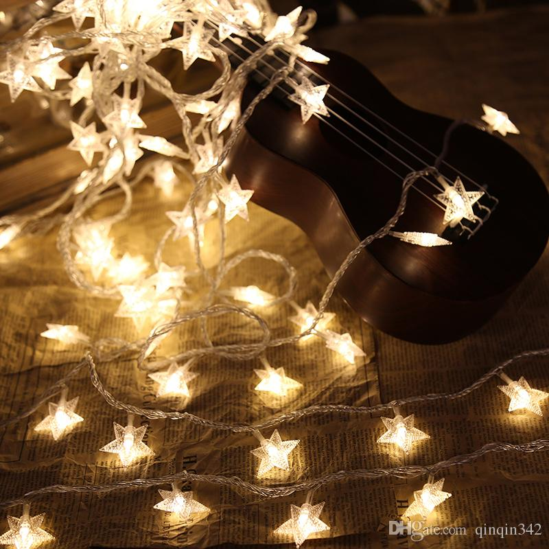 4m 40leds 3aa Battery Powered Star Shaped Theme Led String Fairy Lights Holiday Wedding Decoration Party Lighting Strings 2017 With