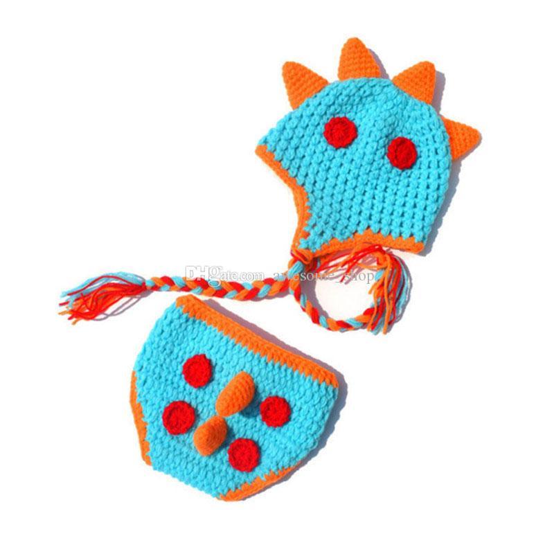 Abiti da neonato dinosauro, crochet lavorato a maglia baby boy girl mostro cappello e pannolino copricostume, animale costume di halloween, foto bambini