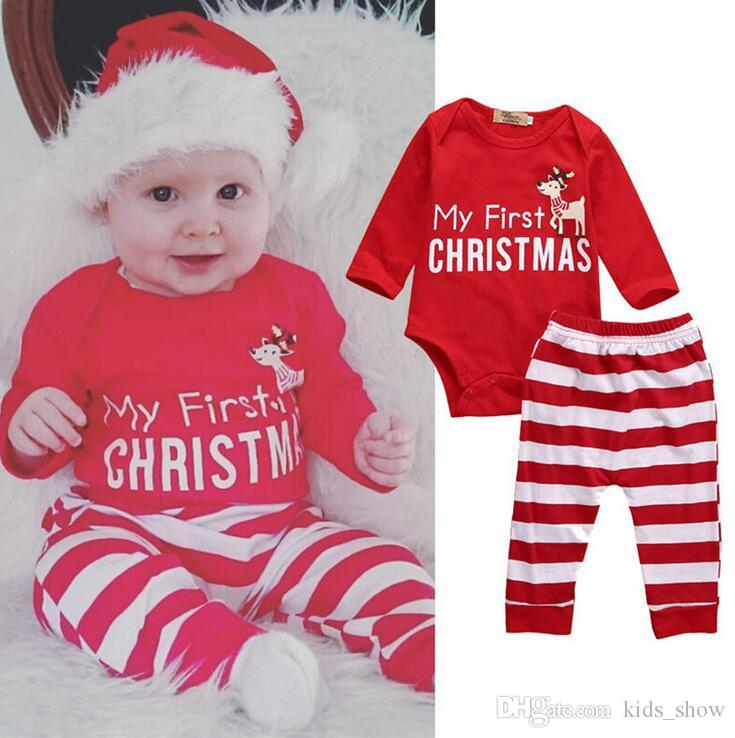 13895cabd 0-24months MY First Christmas Oufits Baby Girl Boy Bodysuit+Striped ...