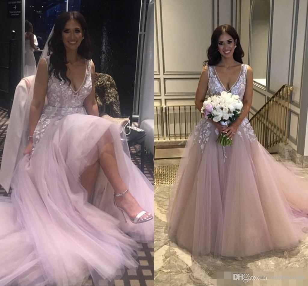 Discount Newest Light Purple Wedding Gowns V Neck Sheer