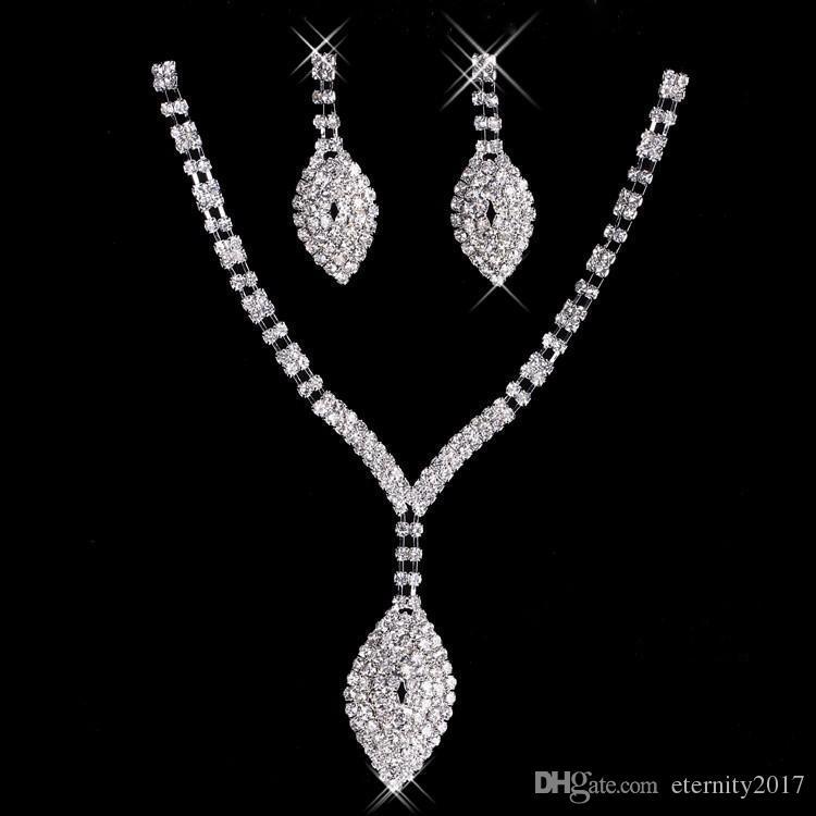 New Rhinestone Crystals Jewelry Set Cheap Fashion Wedding Evening
