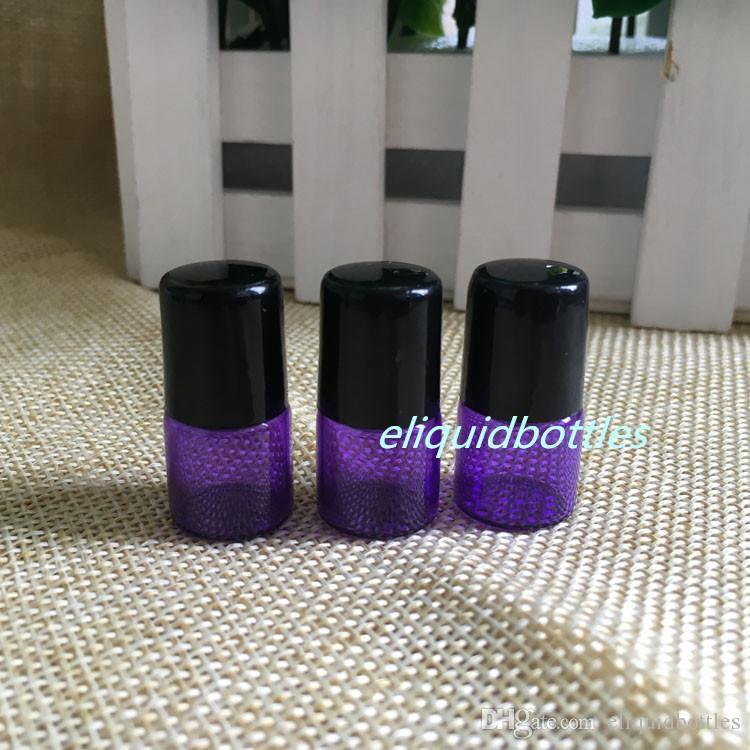 NEW 1ml Purple Glass Roller Bottles Mini Tiny Refillable Empty Aromatherapy Perfume Liquid Glass Roll On Bottles Vials Metal Roller ball