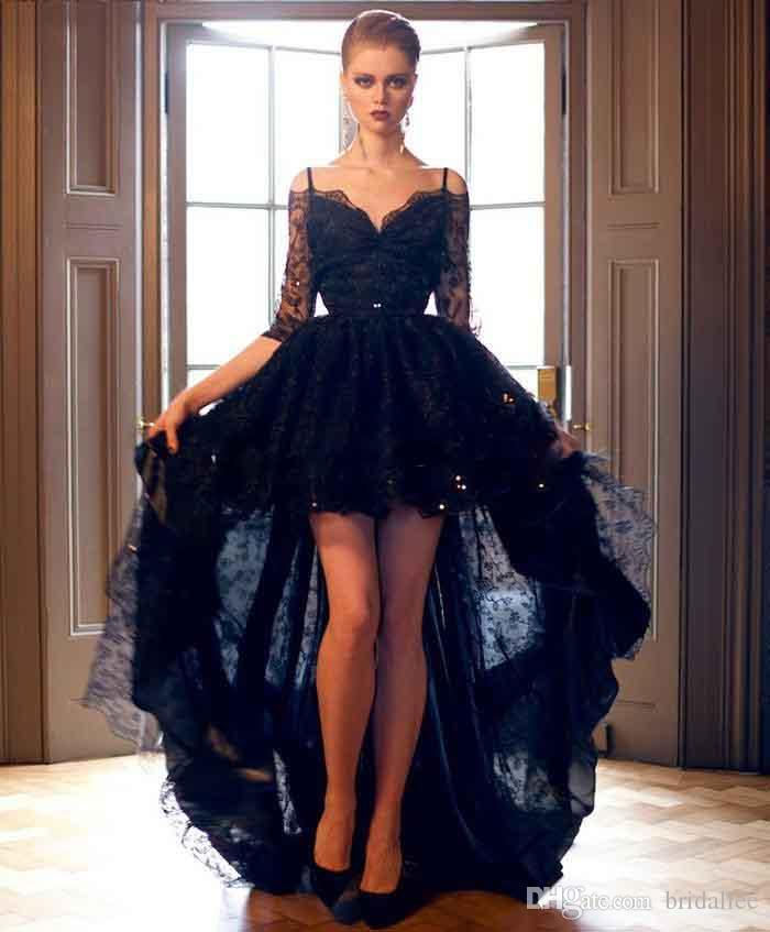 2017 Short Front Long Back Black Lace High Low Prom Dresses with ...