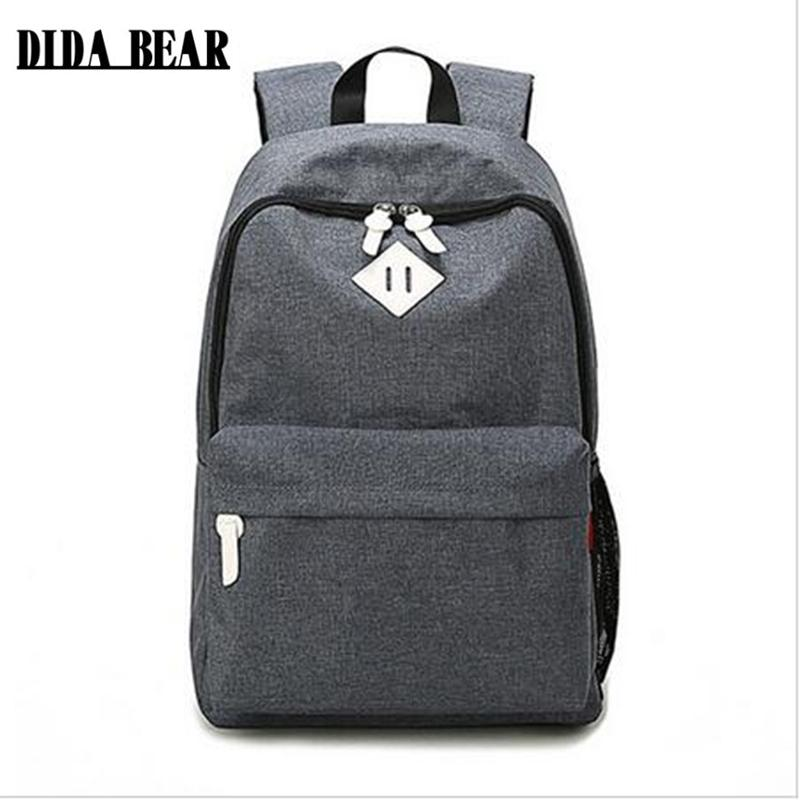 7e85071b28d6 Fashion Canvas Backpacks Large School Bags For Girls Boys Teenagers Laptop Bags  Travel Rucksack Mochila Gray Women Men Girl Backpacks Toddler Backpack From  ...