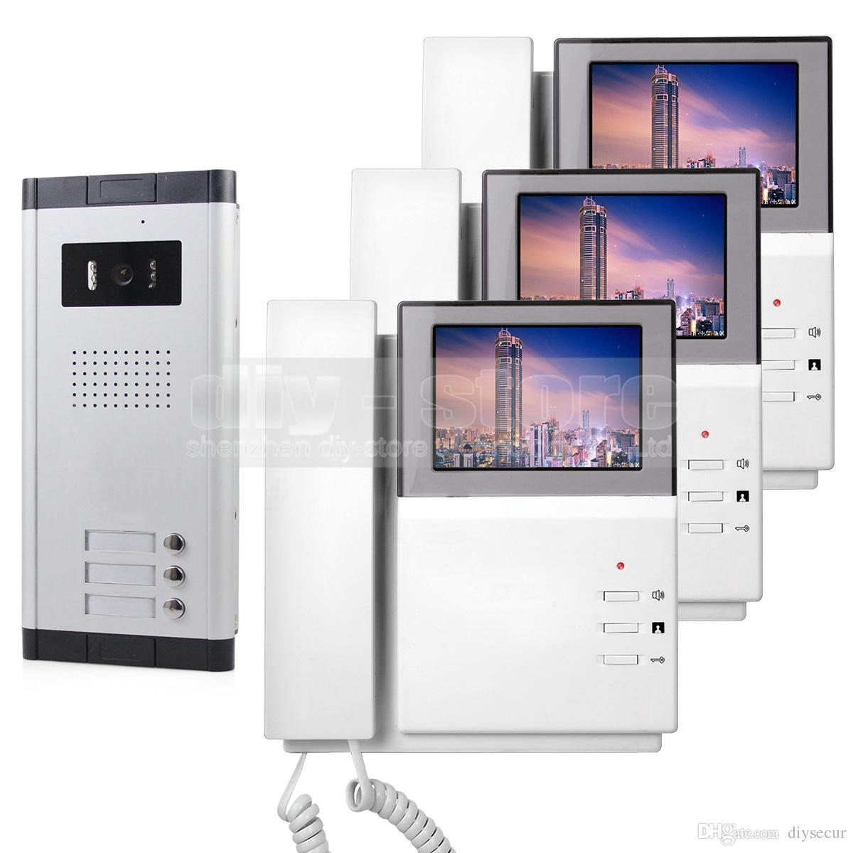 4.3 Hd Apartment Video Door Phone Video Intercom Doorbell System 700 Tvline Ir Camera Touch Key For 3 Families Cam Door Camera At Front Door From Diysecur ...