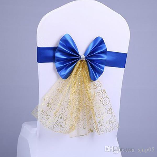 New Fashion Spandex Lycra Chair Sashes with Elegant Yarn Decoration Satin Stretch Chair Bands Bow Covers Wedding Party Hotel Banquet Decor
