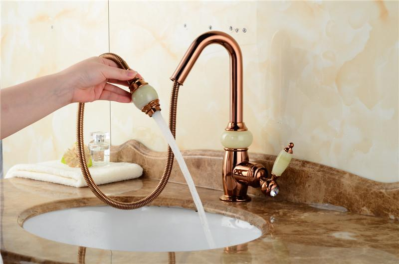 2018 Luxury Rose Gold Pull Down Bathroom Sink Faucets Wholesale New ...