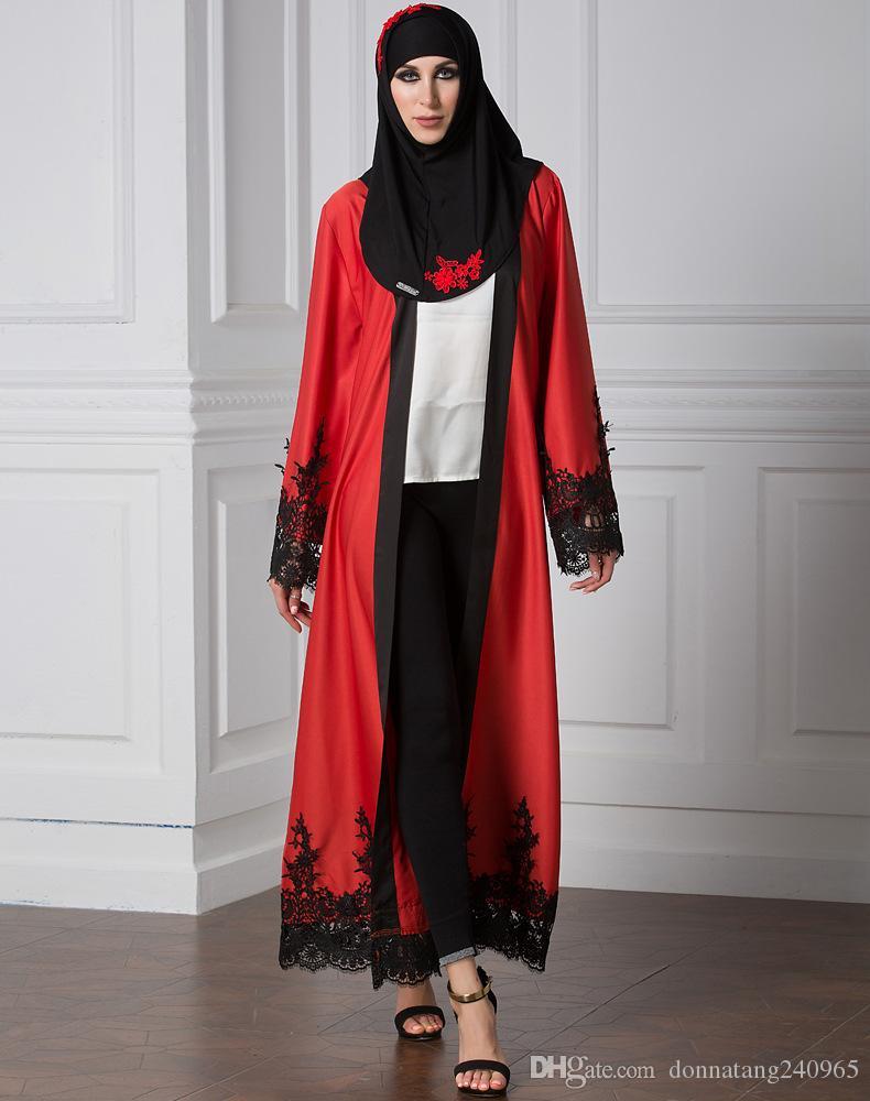 Compre Mujeres Musulmanas Vestido De Frente Abierto Imágenes Abaya Turkish  Bordado De Encaje Largo Cardigan Robe Musulmane Longue Mujeres Abaya A   24.89 Del ... 1e1b4181fe0b