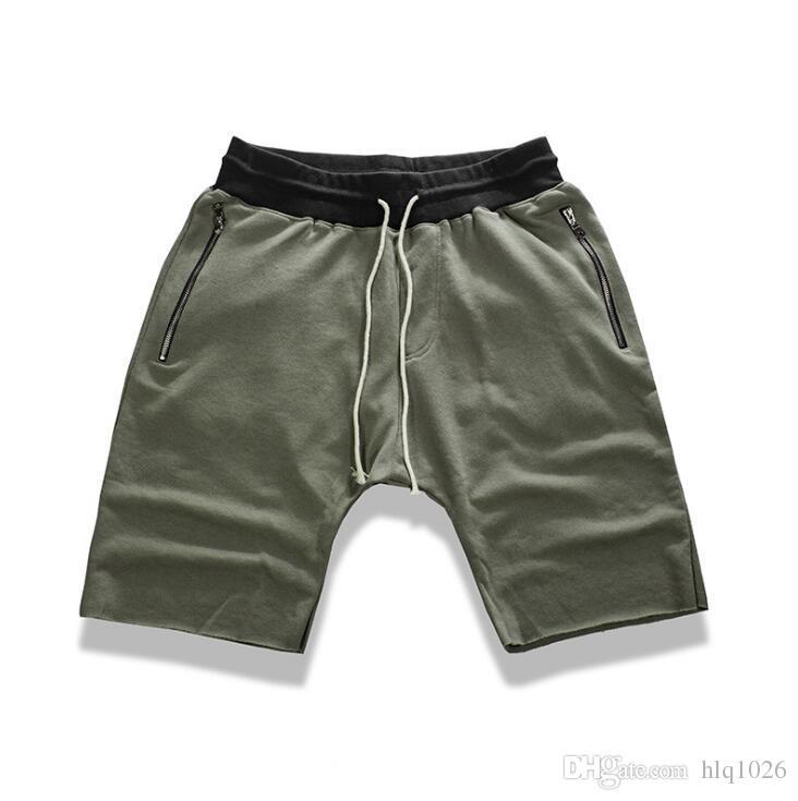 Urban clothing kanye west streetwear hiphop justin bieber dance shorts for men black/grey stretch cotton fashion short