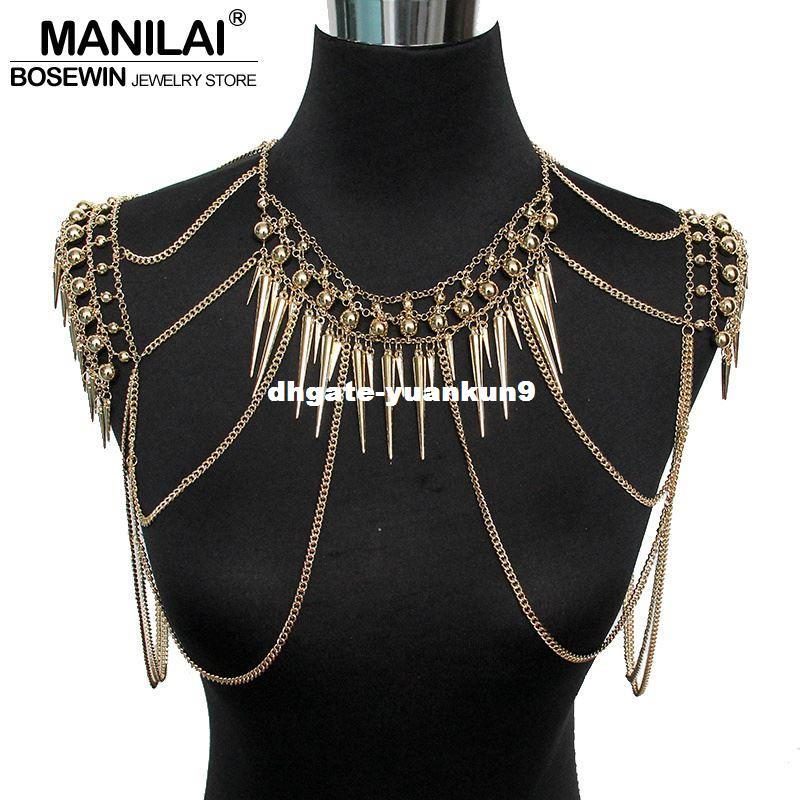 New Sexy Bohemian Body Chains Alloy Gold Chain Rock Punk Beach Multi Layer Long Hanging Necklace Bikini Jewelry Women Wholesale Big Clearance Sale Jewelry & Accessories