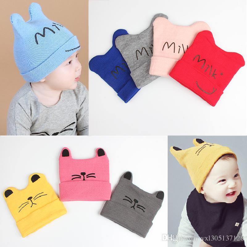 736653aa 2019 Newborn Baby Boys Girls Cartoon Cat Ear Hats Winter Milk Children Warm  Knitted Caps Kids Cotton Beanie Cap Photo Props From Yxl305137128, ...