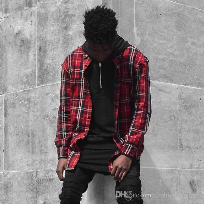 Hop Chemise À Hip Sqthrd Carreaux Streetwear Pour Hommes Rouge Acheter CQdBExroeW