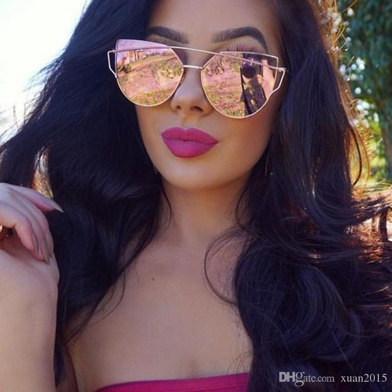a7e5a550b1e7f mirror red cat eye sunglasses Women s eyewear brand designer vintage retro  cat glasses Oculos rose gold black blue sunglasses Y19