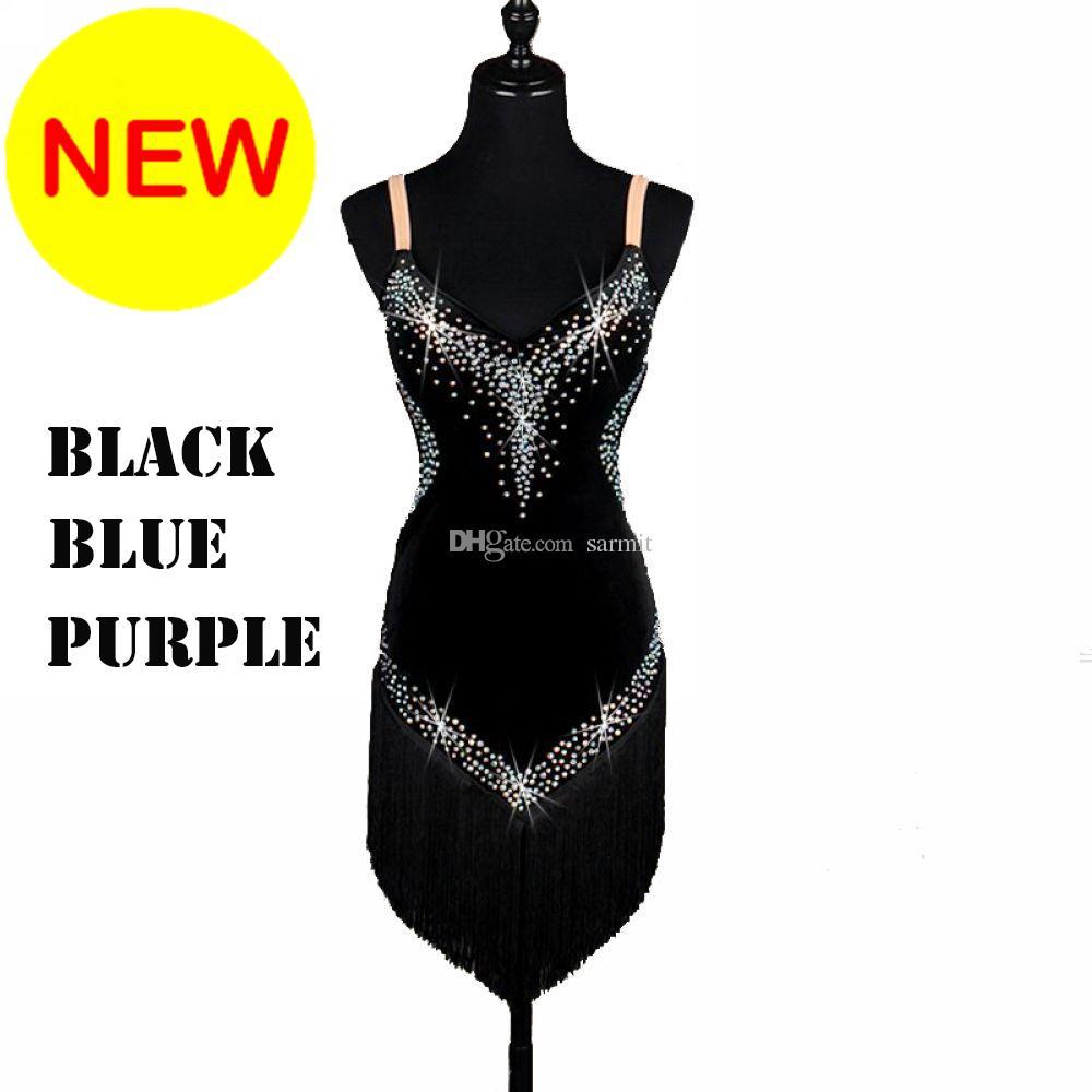 New Women Latin Dance Dress Royal Blue Rhinestones Sequin Tassels ...