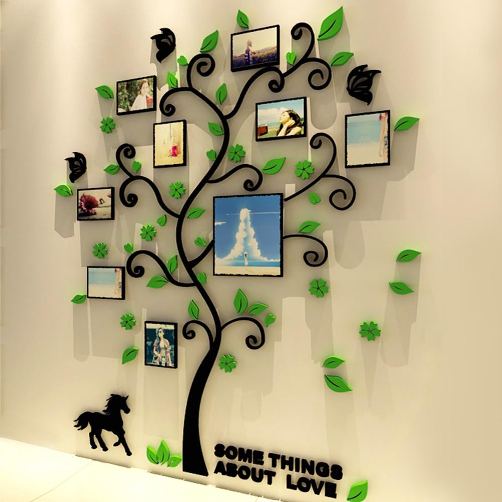 3d Acrylic Family Tree Wall Stickers With Photo Frame Living Room Green Wall  Art Decal Home Decoration Room Decor Wall Stickers Room Decoration Stickers  ... Part 48