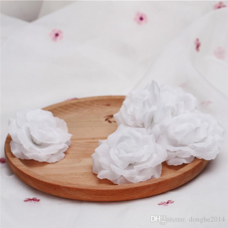 50 adet 8 cm Ipek Gül Çiçek Düğün Parti Için Mavi Siyah Gül Tomurcukları Kafaları Dekoratif Yapay Simülasyon Ipek Şakayık Kamelya Gül Çiçek