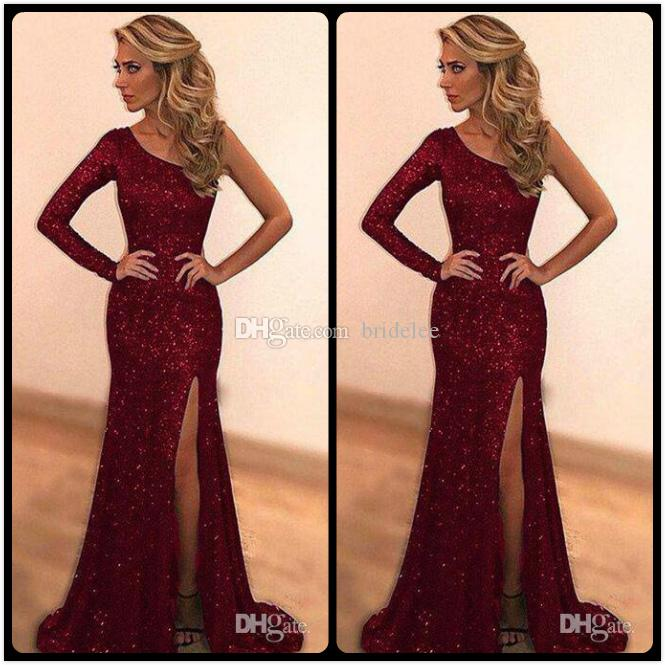 Sparkly Bling Sequined Burgundy Mermaid Prom Dresses 2018 Custom Made One  Shoulder Long Evening Party Dress Sexy side Slit robe de soiree 7b35f8d7e