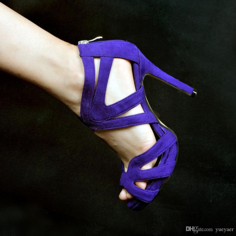 Zandina Bayan Moda El Yapımı 12 cm Büyük Boy Cut-out Fermuar Kapatma Yüksek Topuk Stiletto Sandalet Mor XD037