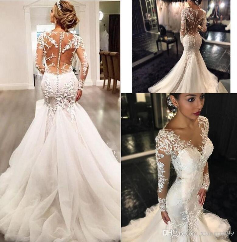 Stunning Mermaid Wedding Dresses V Neck Sheer Long Sleeves Gowns Sexy Illusion Back Applique Lace Bridal Dress Ivory